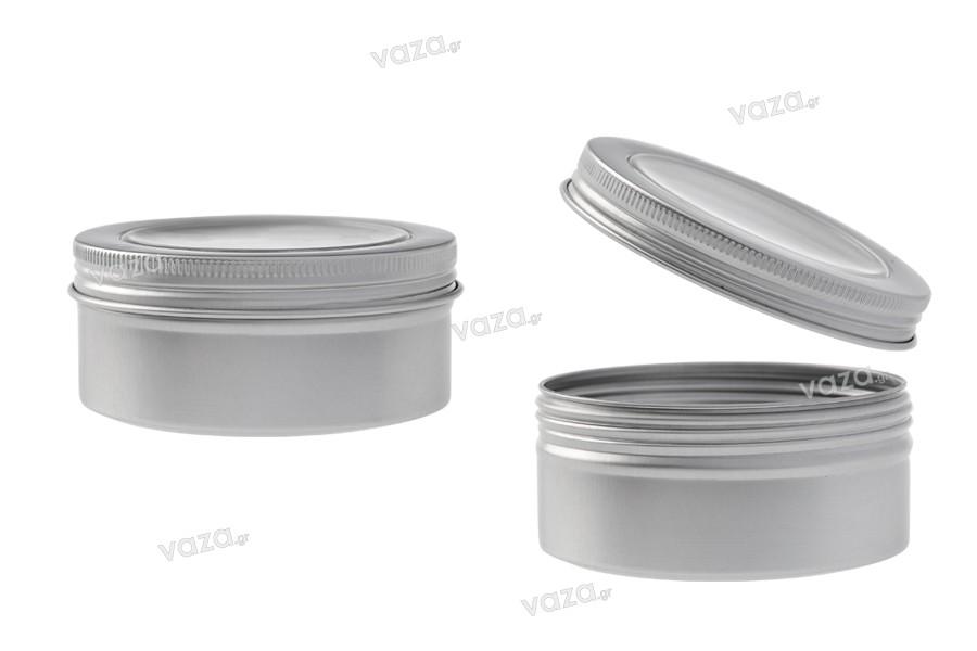 Βάζο αλουμινίου 150 ml ασημί με παράθυρο στο καπάκι - 12 τμχ