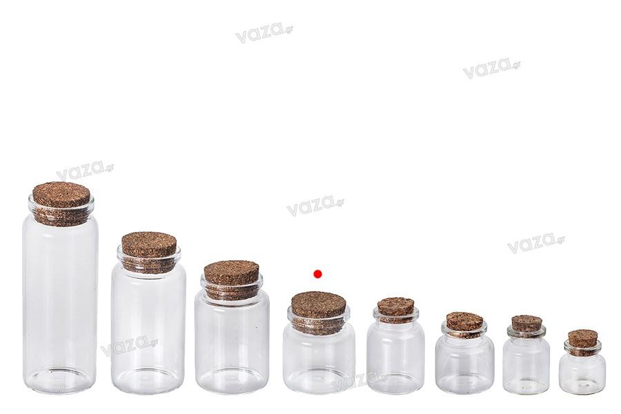 Flacon en verre de 50ml avec un large orifice et liège conique 47x50-paquet de 12 pièces