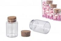 Flacon en verre de 80ml avec un large orifice et liège conique 47x70-paquet de 12 pièces