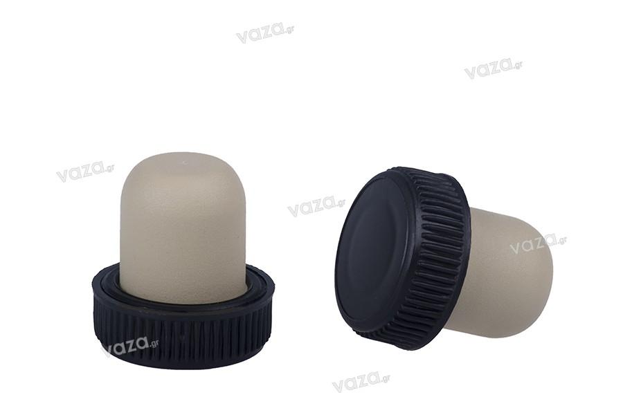 Πλαστικός φελλός Φ 20 με μαύρη κεφαλή με ραβδώσεις