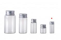 Μπουκαλάκι γυάλινο 4 ml με καπάκι αλουμινίου - συσκευασιά 12 τεμαχίων