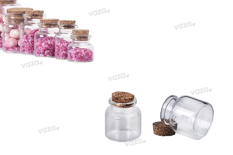 Μπομπονιέρα μπουκαλάκι μικρό 20 ml με φελλό για γάμο και βάπτιση 37x47 mm - 12 τμχ