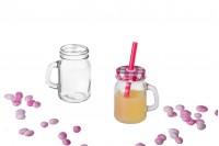 Βάζο για βάπτιση με χερούλι 100ml με καπάκι και τρύπα για καλαμάκι για χυμό