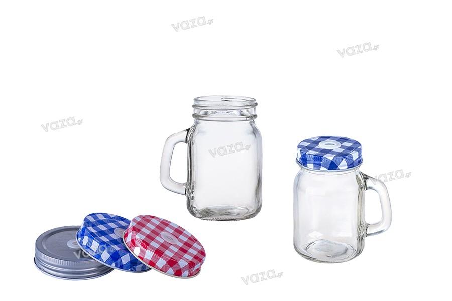 Βάζο γυάλινο με χερούλι 100ml και μεταλλικό καπάκι με τρύπα για καλαμάκι