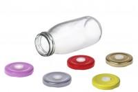 Γυάλινο μπουκαλάκι 250ml για λεμονάδα με ροζ, ασημί, κόκκινο καπάκι με τρύπα για το καλαμάκι