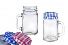 Βάζο με χερούλι 450 ml με μεταλλικό καπάκι και τρύπα για καλαμάκι