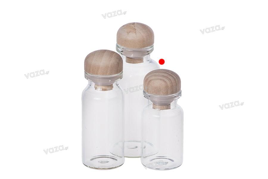 Μπομπονιέρες μπουκαλάκια μικρά με ξύλινο φελλό