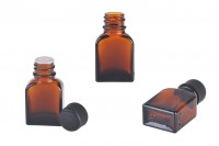 Glass bottle 8 ml amber with black plastic cap and stopper