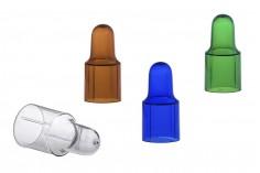 Πλαστικό καπάκι / κάλυμμα για πιπέτα σε 4 χρώματα: καφέ, μπλε, πράσινο και διάφανο (για σταγονομετρητές με καπάκι αλουμινίου)
