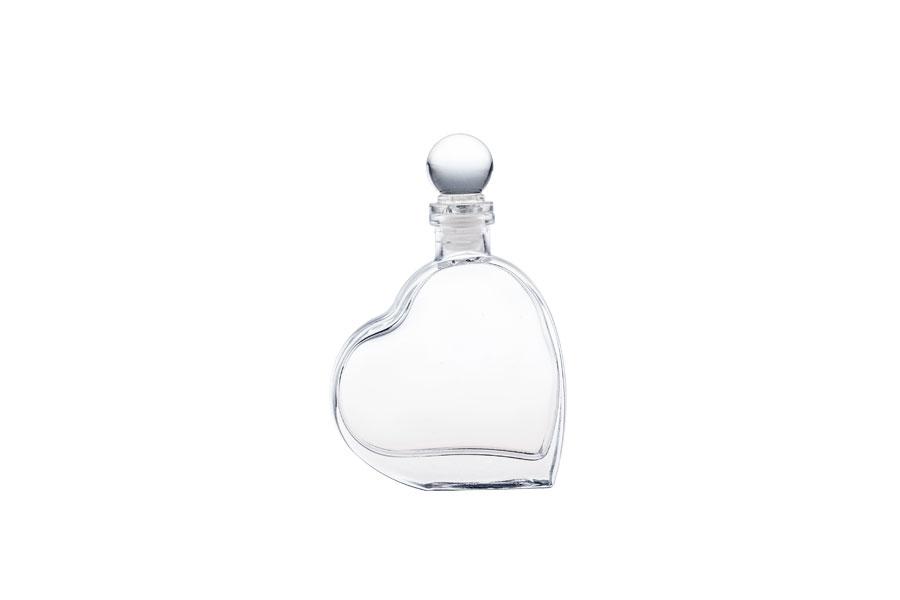 OFFRE! Flacon en verre 55 ml en forme de cœur avec bouchon en verre – de 2.10€ à 0.98€ par pièce