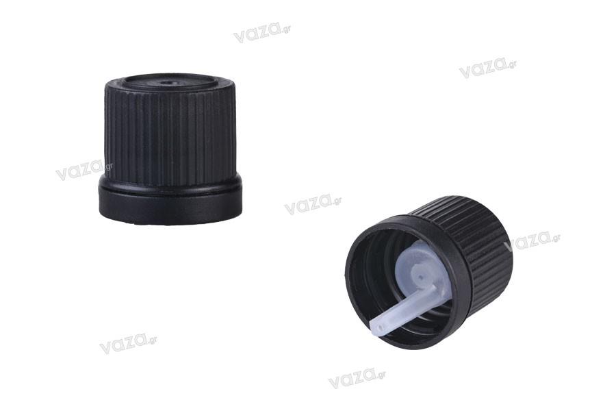 Μαύρο πλαστικό στενό καπάκι ασφαλείας με κοντό εσωτερικό σταγονόμετρο PP18