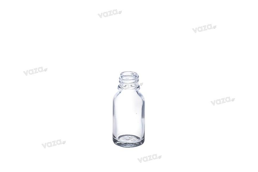 Γυάλινο μπουκαλάκι για αιθέρια έλαια 15 ml διάφανο με στόμιο PP18