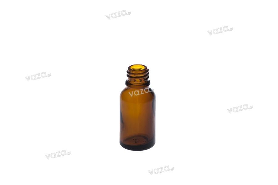 Γυάλινο μπουκαλάκι για αιθέρια έλαια καραμελέ 15 ml με στόμιο PP18