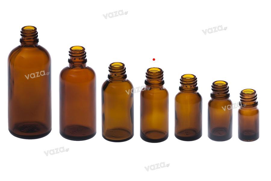 Γυάλινο μπουκαλάκι για αιθέρια έλαια καραμελέ 20 ml με στόμιο PP18