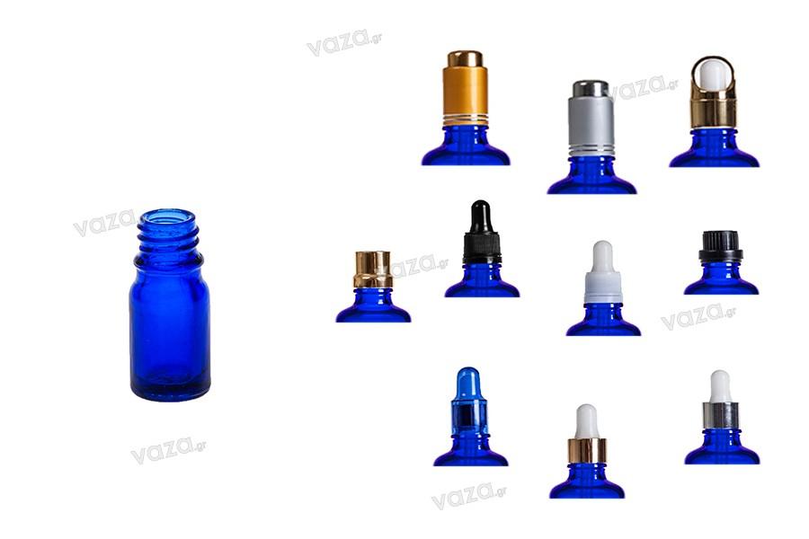 Γυάλινο μπουκαλάκι για αιθέρια έλαια 5 ml μπλε με στόμιο PP18