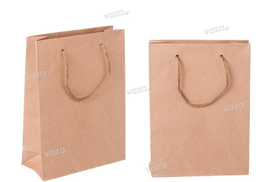 Τσάντα δώρου χάρτινη κραφτ με κορδόνι 3 mm με ωραία υφή στην απόχρωση της τσάντας 150x60x200 mm