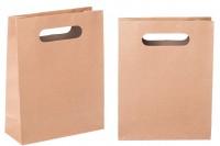 Sac cadeau en papier brun à anses découpés 190x80x240 mm