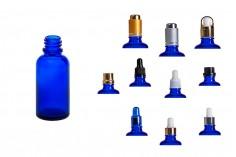 Γυάλινο μπουκαλάκι για αιθέρια έλαια 30 ml μπλε με στόμιο PP18
