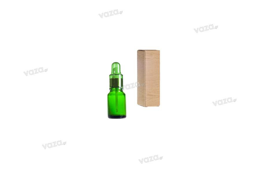 Γυάλινο μπουκαλάκι για αιθέρια έλαια 10 ml πράσινο με στόμιο PP18