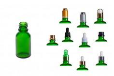 Γυάλινο μπουκαλάκι για αιθέρια έλαια 15 ml πράσινο με στόμιο PP18