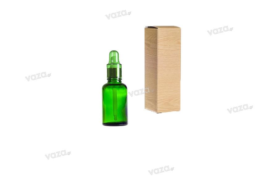 Γυάλινο μπουκαλάκι για αιθέρια έλαια 30 ml πράσινο με στόμιο PP18