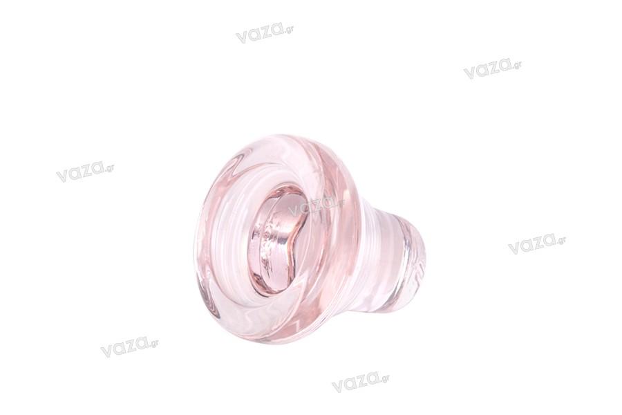 Πώμα γυάλινο στρογγυλό χαμηλού προφίλ Φ 18.5 μαύρο, διάφανο, ροζ, αμμοβολή λευκό