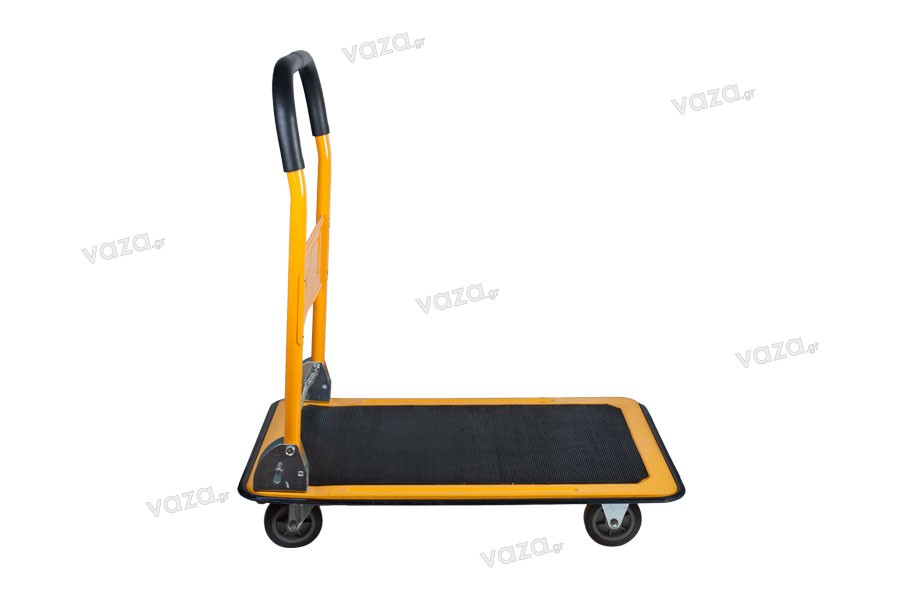 Καρότσι πλατφόρμα μεταφοράς 4 τροχών σε χρώματα κίτρινο με μαύρο - έως 100 kg