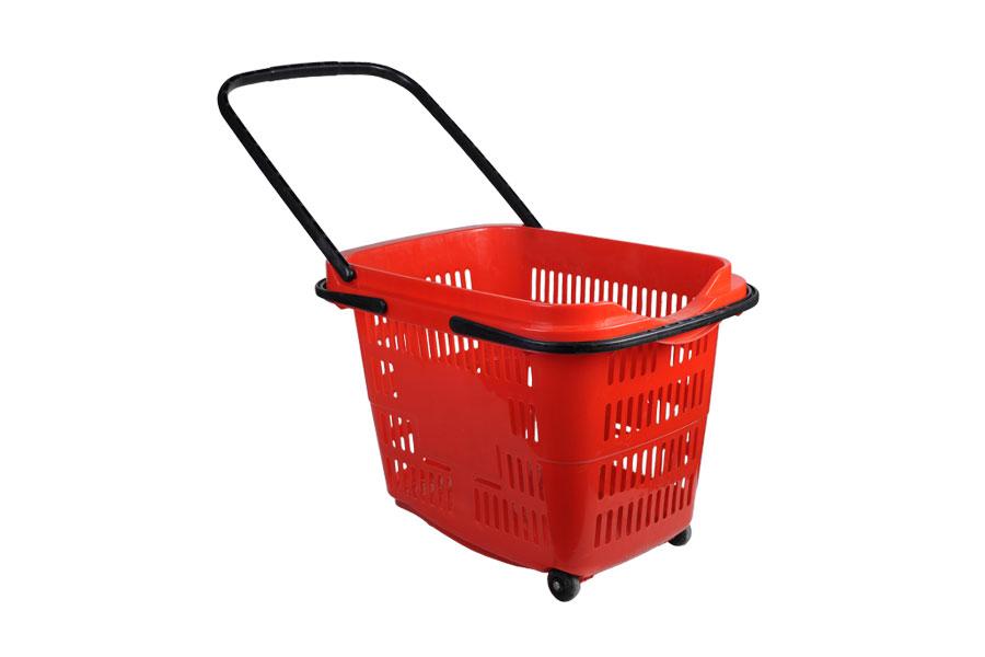 Καλάθι χειρός πλαστικό με ρόδες σε χρώμα κόκκινο 60x45x46 cm