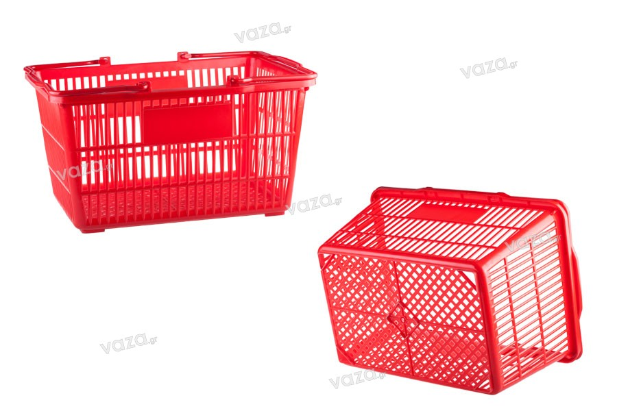 Πλαστικό καλάθι χειρός σε χρώμα κόκκινο 45x32x23 cm