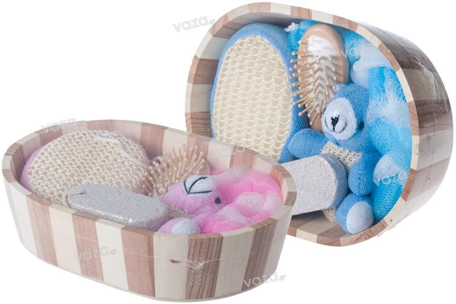 Accessoires de jeux salle de bain cadeau dans panier en bois for Accessoire salle de bain bois