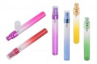 Tube échantillon en verre 10 ml avec vaporisateur en aluminium et couvercle transparent (couleur mix) - en packs de 6 pièces