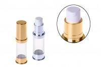 Airless σωληνάριο για κρέμα 5 ml χρυσό / ασημί