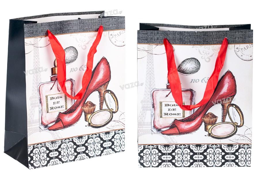 Τσάντα δώρου πλαστικοποιημένη με σατέν χερούλι 210x100x260 mm