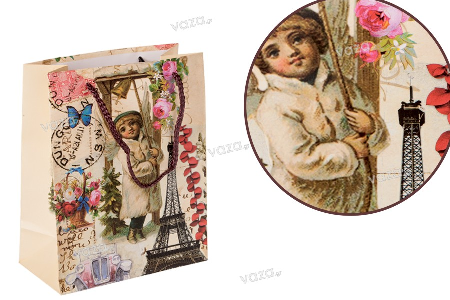 Τσάντα δώρου Άιφελ με κορδόνι πλαστικοποιημένη 170x85x210 mm