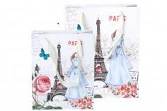 Τσάντα δώρου Άιφελ πλαστικοποιημένη με σατέν χερούλι 170x85x210 mm