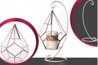 Porte bougie décoratif en verre suspendu en forme de goutte