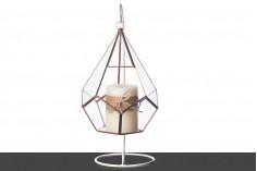 Διακοσμητικό κρεμαστό γυάλινο για κερί με μεταλλική βάση