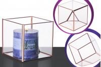 Porte bougie carré en verre décoratif