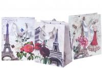 Πλαστικοποιημένη σακούλα δώρου με σχέδιο Άιφελ με σατέν χερούλι
