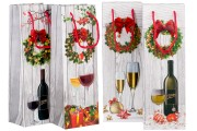 Σακούλες Χριστουγεννιάτικες χάρτινες τύπου 3-D με πλαστικοποίηση για φιάλες κρασιού σε διάφορα σχέδια