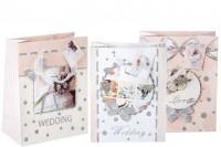 Sac cadeau en papier 3D, dessin mariage avec paillettes, poignée satin