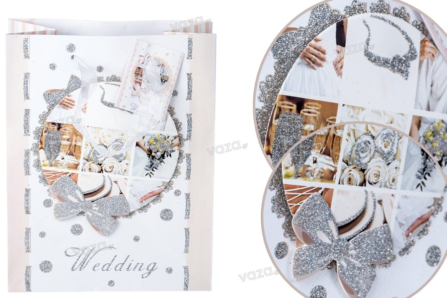 """Σακούλα δώρου πλαστικοποιημένη με σχέδιο """"γάμου"""" τύπου 3D με σατέν χερούλι και glitter"""