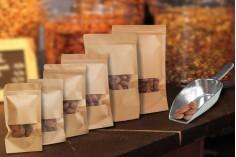 """Σακουλάκια κραφτ τύπου Doy Pack, με κλείσιμο """"zip"""" και παράθυρο, εσωτερική και εξωτερική διάφανη επένδυση και δυνατότητα σφράγισης με θερμοκόλληση 160x40x235 mm - 100 τμχ"""