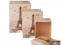 Κουτάκι πλαστικοποιημένο μακρόστενο για δώρο με τύπωμα Άιφελ S-M-L