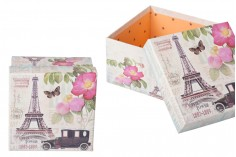 Κουτάκι πλαστικοποιημένο τετράγωνο για δώρο με τύπωμα Άιφελ S-M-L