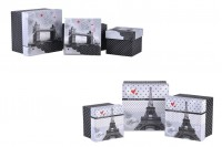 Κουτάκι πλαστικοποιημένο τετράγωνο για δώρο σε 2 σχέδια Παρίσι (Άιφελ) ή Λονδίνο (Tower Bridge) - σετ S-M-L