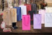 Sac cadeau en papier plastifié avec poignées organza 2 cm, variété de couleurs