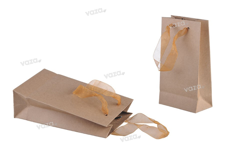 7646fb89f1 ... Τσάντα δώρου χάρτινη πλαστικοποιημένη με χερούλι 2 cm από οργάντζα σε  διάφορα χρώματα ...
