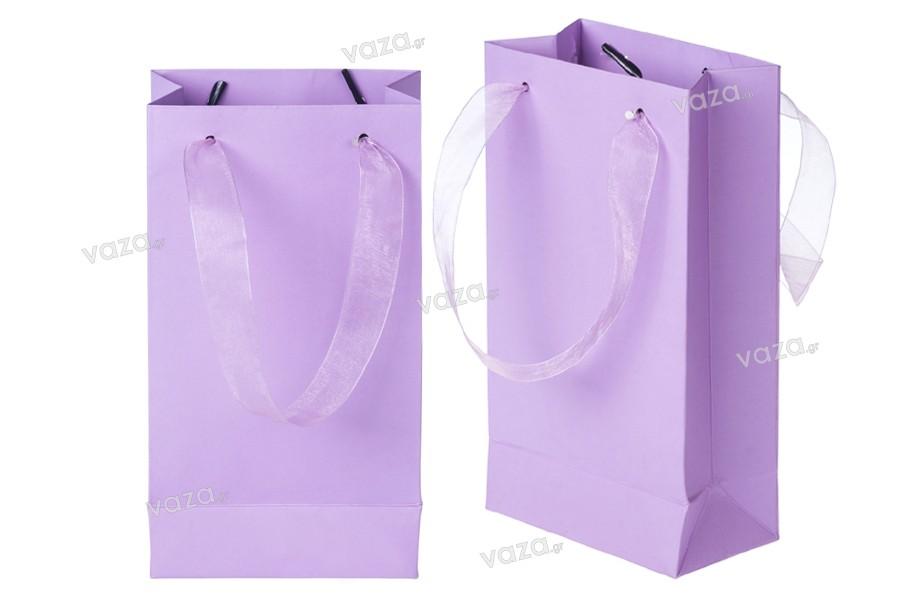Τσάντα δώρου χάρτινη πλαστικοποιημένη με χερούλι 2 cm από οργάντζα σε διάφορα χρώματα