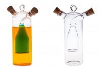 """Γυάλινο μπουκάλι """"δίχωρο"""" μαζί με 2 φυσικούς κωνικούς φελλούς με κρίκο για κρέμασμα. Χειροποίητο από φυσητό γυαλί - 314 ml"""